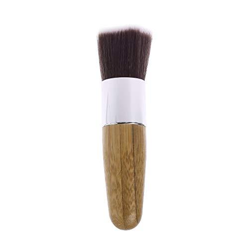 Zuanty 1PC visage blush fondation fondation brosse ronde bambou poignée tête plate brosse de fondation
