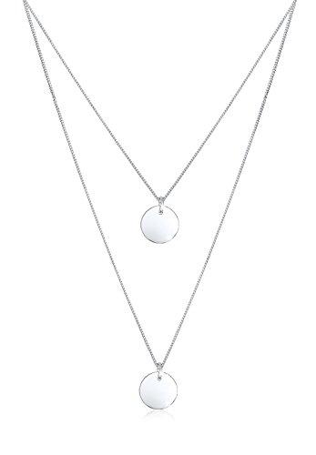 Elli Halskette Damen Layer Kreis Anhänger Geo Bi-Color in 925 Sterling Silber Vergoldet