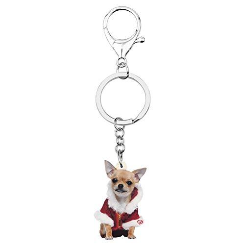 HXYKLM Acryl Kerst Kostuum Chihuahua Hond Sleutelhangers Sleutelhangers Sleutelhangers Tas Auto portemonnee Sleutelhanger Voor Vrouwen Meisjes Decoratie Charm Gift