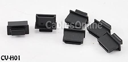 CablesOnline 10-Pack HDMI Male Dust Cover Port Protectors, Black (CV-H01-10)