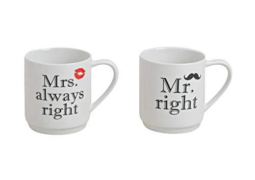 Porzellan Tassen Set für Paare & Verliebte mit Sprüchen Bedruckt - 3 Aufdruck Varianten - Kaffeetassen Aufschrift Mrs Always Right + Mr Right 300ml - Paar Tassen in Weiß, Schwarz, Rot