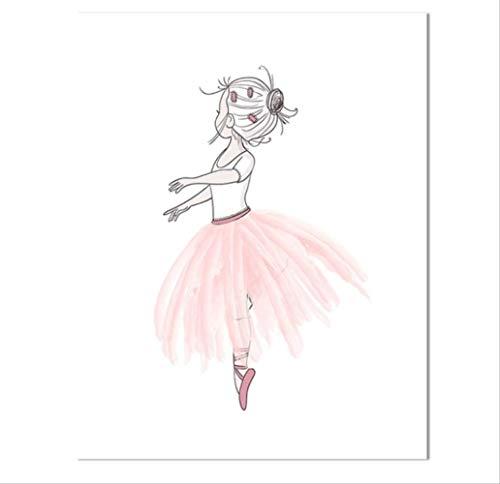 nobrand Baby Mädchen Kinderzimmer Wandkunst Ballerina Floral Leinwand Poster Rosa Gold Blumendruck Malerei Nordic Kid Schlafzimmer Dekoration Bild 40X50 cm Kein Rahmen