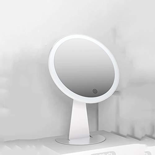Wall-Mounted Mirrors Specchio per Il Trucco da Tavolo, USB Portatile Ricaricabile, Luce LED dimmerabile con Controllo tattile, per toeletta o da Barba