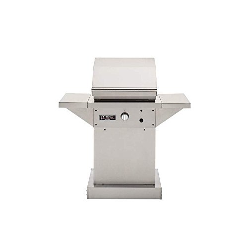 TEC Patio 1 FR Infrared Grill On Black Pedestal with Two Side Shelves and Warming Rack (PFR1LPPEDS-PFR1WR), Propane Gas