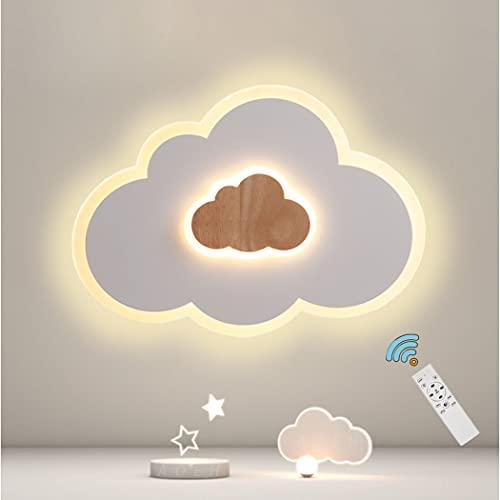 LED Deckenleuchte Schlafzimmer Kinderzimmerlampe Deckenlampe Deckenleuchte für Kinder Wolken deckenleuchte Holz Stufenloses Dimmen mit Fernbedienung Mit Nachtlichtfunktion 40W