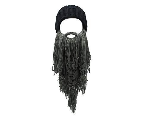 Lantra Besa CC0001 Gorro de Lana Vikingo, Gorro con Barba extraíble, para Carnaval, Halloween, Cosplay, Fiesta, Largo y Corto Barba Larga Gris Oscuro. Talla única
