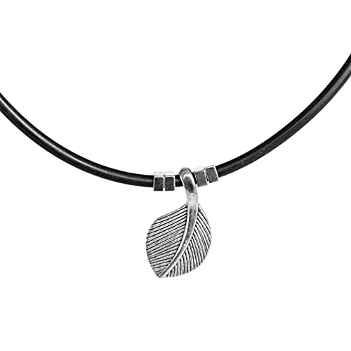 Men's Choker, Handmade Black Vegan Silicon and Silver Plated Leaf Pendant Necklace, Boho Tribal Jewelry for Guys by Magoo