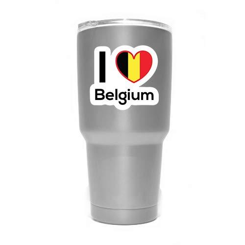 More Shiz MKS0191 Aufkleber, Motiv: Flagge von Love Belgien, für Auto, LKW, Van, Stoßstange, Fenster, Laptop, Tasse, Wand, 2 Stück