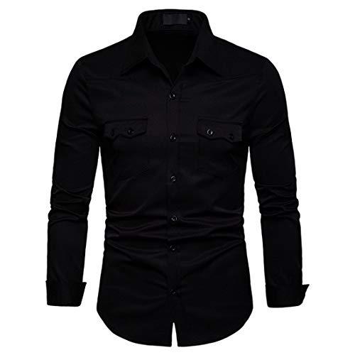 JinFZ Men's Shirt Long Sleeve/Half Sleeve Solid Color Shirt Business Banquet Casual Kent Collar Shirt/Air Force Navy Military Stand Collar Shirt All-Match Slim Fit Shirt Black XL