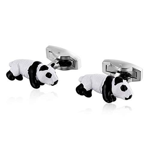 Daesar Hochzeit Manschettenknöpfe Silber Panda Herren Hemd Manschettenknöpfe Edelstahl mit Geschenkbox