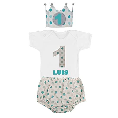 Kembilove Conjunto Personalizado Cumpleaños de 4 piezas para Bebé de 1 año – Con Corona, Body, Cubrepañal y Vela – Disfraz para sesiones de fotos de Cumpleaños – Lunares Azul 9 -12 Meses