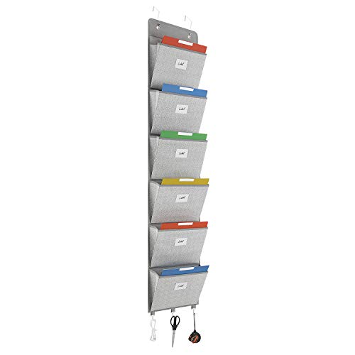 Magicfly Over The Door File Organizer with 2 Hooks, Hanging Wall File Holder for Home, Ofiice, Wall Mounted Pocket Chart for Mail Magazine, Light-Gray
