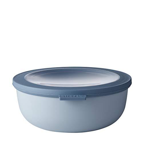 Mepal Multischüssel Cirqula rund Blue – 1250 ml Inhalt – mit abnehmbarem Deckel – bruchfestes Material-auslaufsicher – tiefkühlgeeignet-spülmaschinengeeignet, PP/TPE, Nordic Blau