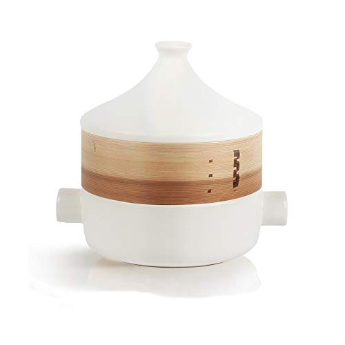 ZLDGYG Sencilla Cazuela, cazuela de cerámica Blanca Domésticos de Cocina Resistente a Altas temperaturas crisol de la Sopa con Tapa Creativa