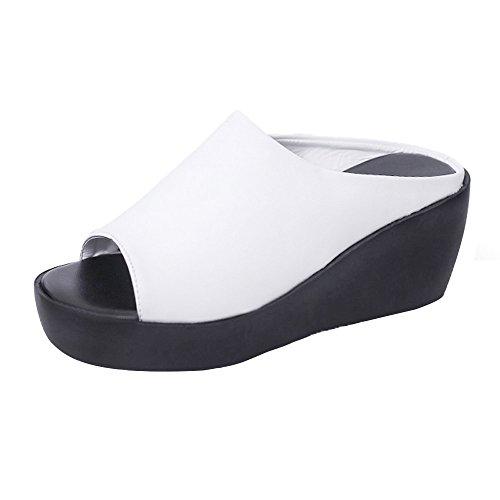 Chanclas de Mujer, K-Youth Moda Sandalias Mujer Verano 2018 Tacon Alto 7 cm Zapatos Mujer Verano Baratos Sandalias Romanas Mujer Pescado Boca Plataforma Sandalias de Playa para Mujer (38, Blanco)