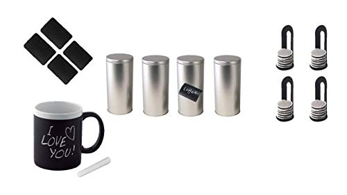 Kaffeepaddose/Vorratsdose, inkl. 4. Etiketten + 1 Keramikbecher mit Kreide + 4 >Padheber