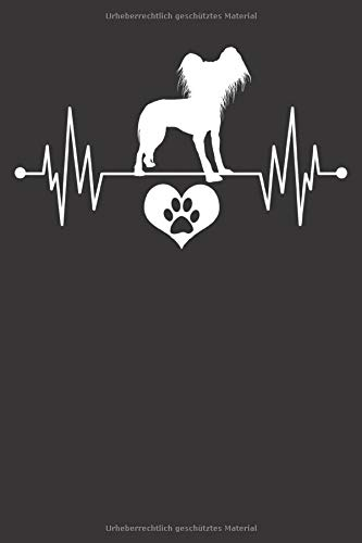 Chinese Crested Notizbuch: Chinese Crested Herzschlag EKG Herz Pfote Liebe 6x9 Notizbuch 120 Seiten liniert
