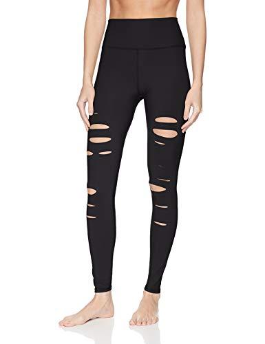Alo Yoga Damen Leggings mit hoher Taille und Ripped Warrior - Schwarz - Klein