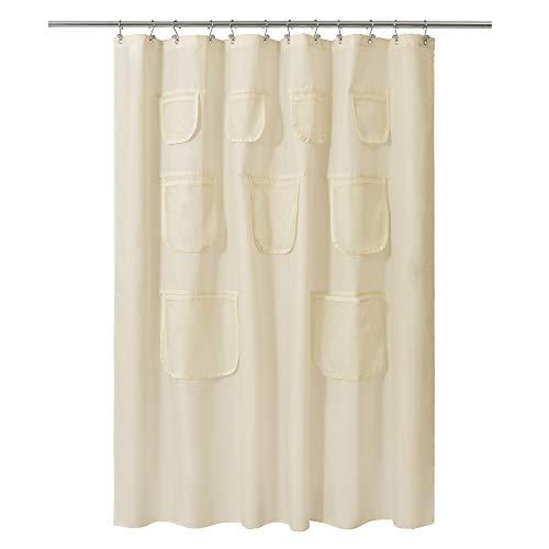 Duschvorhang, Stoff, mit 9 Netztaschen, 183 x 183 cm, wasserdicht, waschbar & rostfrei, sandfarben