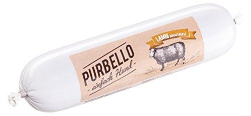 PURBELLO Hundewurst Lamm - 8 x 400 g - Monoprotein Hundefutter mit hohem Fleischanteil - Nassfutter für Hunde - Schnittfest & Getreidefrei (3,2 gk)