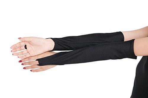 ツルツルニット 指ぬき ロンググローブ 特大サイズ, 黒