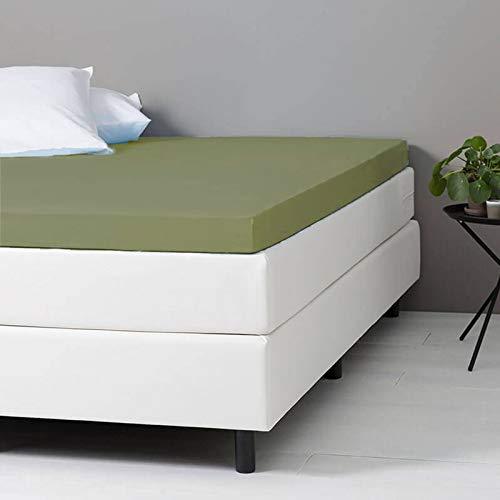Verkoelend Topper Hoeslaken - Groen - 90x200 cm - Percal Katoen - Dekbed-Discounter - Voor Matrassen Tot 8 CM