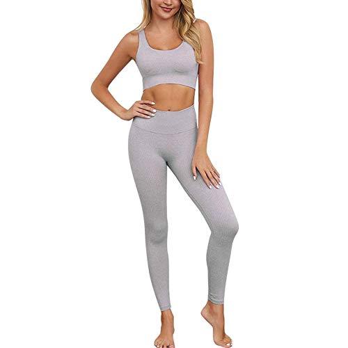 CNASA Trainingsoutfits für Frauen 2-teilig Nahtlose Yoga-Outfits Sport-BH und Leggings Set Trainingsanzüge 2-teilig