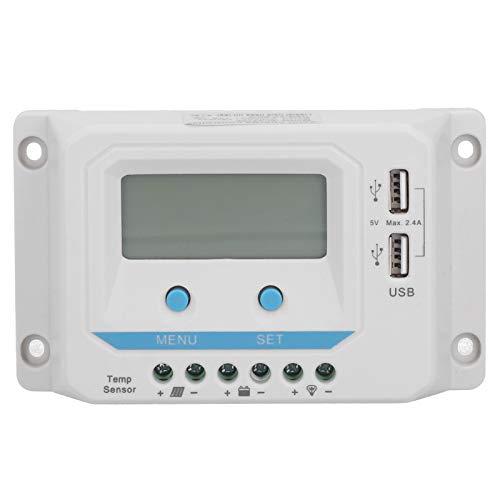 Dpofirs Controlador de Carga Solar con Pantalla LCD, Control doméstico USB PWM para Todo el Sistema, Ajuste del Panel Solar, Controladores de energía renovable EL2410Z (12V / 24V 10A)