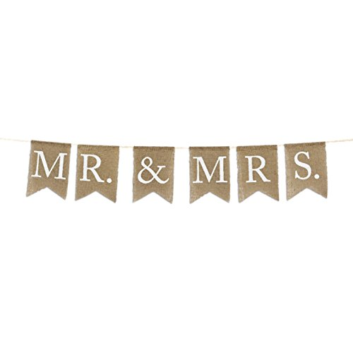 Andaz Press Real Burlap Fabric Pennant Hanging Banner Mr. & Mrs, Pre-Strung, No Assembly Required, 1-Set