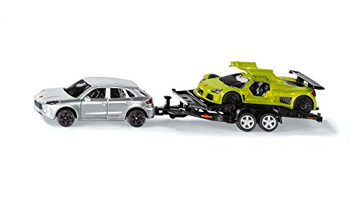 siku 2544, PKW mit Transport-Anhänger und Sportwagen, 1:55, Metall/Kunststoff, Silber/Grün, Kippbare Ladefläche
