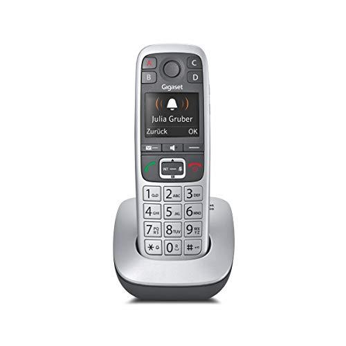 Gigaset E560 Schnurloses DECT-Telefon (ein Universal-Mobilteil mit Farbdisplay, extra großen Tasten und 4 SOS-Tasten) platin