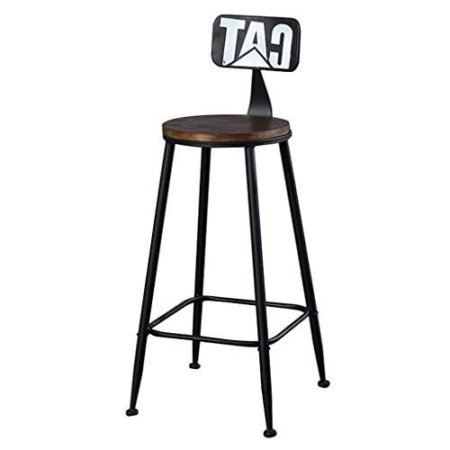 JY&WIN Sillas Taburete de Bar Retro para mostrador Desayuno Comedor Pub Bistro Ocio con Respaldo Altura Reposapiés Silla de Bar Vintage Interior Exterior Metal Madera 29.5