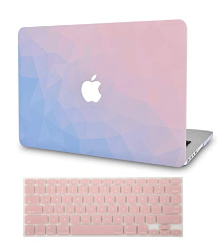 LuvCase 2 in 1 Laptop Case for MacBook Air 13 Inch (2020)(Touch ID) A2179 Retina Display Rubberized Plastic Hard Shell Cover & Keyboard Cover (Ombre Pink Blue)