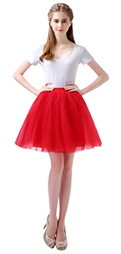 FEOYA Femme Ballet Jupe Tutu Courte Danse Spectacle Jupon Tutu Skirt Taille Unique Tutu Rouge
