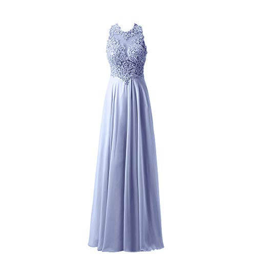 Yangprom Gorgeous A-Line High Neck Lace Prom Dress Beading Evening Gown (8, Lavender)