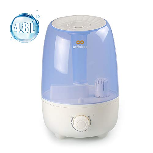 infinitoo Humidificateur Bébé Humidificateur d'Air Maison Ultrasonique 4,8L+ 2 Filtre en Céramique Ultrafine, Utra-Silencieux et Protection Niveau d'Eau Bas, Voyant LED (4.8L)