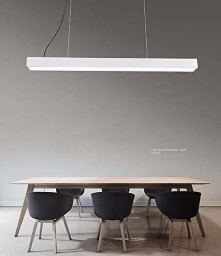 Soontrans 36w Suspension LED Filaire Hauteur Réglable Lustre Plafond Suspendu Chandelier 120 x 10 cm (Rectangulaire) (Blanc)
