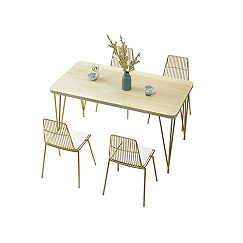 HMBB Conjunto de mesa de comedor for el hogar, mesa de mesa de 5 piezas con 4 sillas de gold, mesa de madera moderna, mesa de mesa for cocina, comedor, restaurante 160x70x75cm