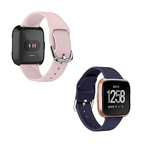 Mersidany Pulsera de Repuesto Ajustable de liberación rápida para Fitbit versal 2/versal/versal Correa de Reloj de Silicona Lite (L,B)