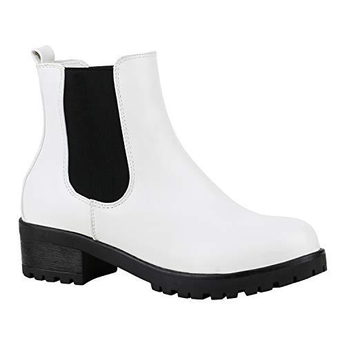 stiefelparadies Gefütterte Damen Chelsea Boots Plateau Stiefeletten Profilsohle Weiss 38 Flandell