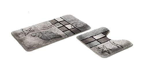 S&S-Shop Badematte Set | grau | Hamburg | 2 teilig | mit Ausschnitt | rutschfest | WC-Vorleger 50 x 45 cm | Badvorleger 50 x 90 cm | Badteppich | Teppich | Bad | Badezimmer