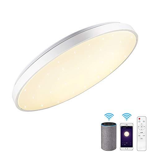 Lámpara de techo con Alexa Smart WiFi, 24 W, 40 cm de diámetro, regulable, controlable mediante aplicación, compatible con Amazon Alexa