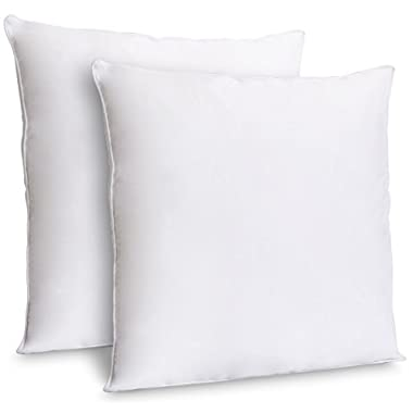 Zoyer Decorative Throw Pillow Inserts (2 Pack, White) - Square 18x18 Indoor Sofa Pillows - Premium Poly Cotton Cover