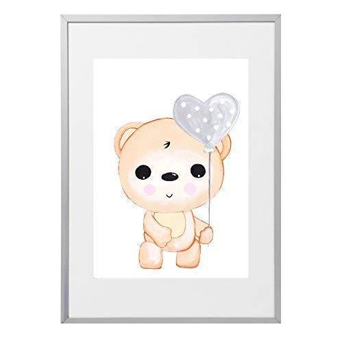 Kinderzimmer Babyzimmer Poster Bild Bär Teddy DIN A4 | Mädchen Junge Deko | Dekoration Tiere Kinderzimmer | Wandbilder Babyzimmer