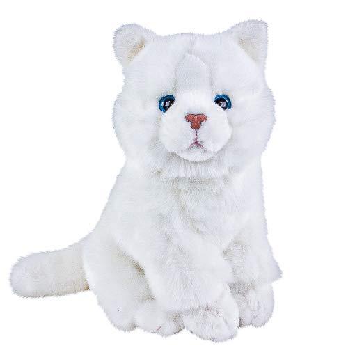 Teddys Rothenburg Kuscheltier Katze Flocke weiß sitzend 30 cm Stoffkatze Plüschtier