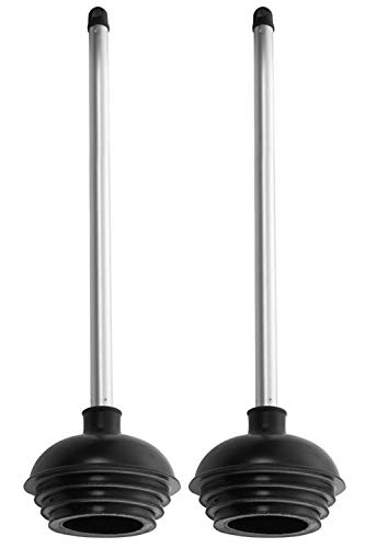 Neiko 60170A Toilet Plunger with Patented All-Angle Design | 2-Pack | Heavy Duty | Aluminum Handle
