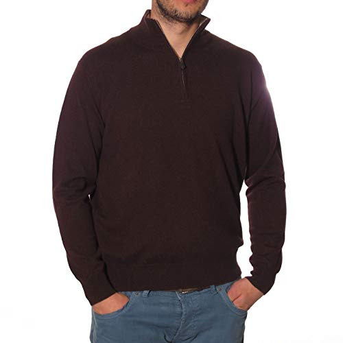 Duemme Knitwear Cashmere Man Knitted Turtle Zip 100% Cashmere Classic fit -  Brown -  40