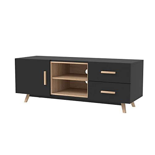 SENJA - TV-meubel 1 kast 2 lades - Strak en minimalistisch design - Optimale opslag (planken en vakken) - Zwart