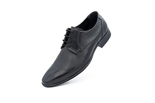 FRETZ men Samuel | Elegante Lederschuhe in schwarz für Herren | weiches Leder, komfortable Passform | weiches Fußbett, hochwertige Sohle | Anzugschuhe, Business & Freizeit | Größe 43