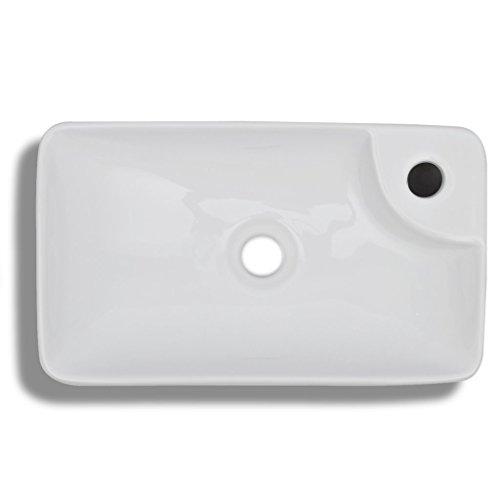 Festnight Keramik Waschbecken Eckig Waschschale Waschtisch Handwaschbecken mit Hahnloch 440x250x100mm Weiß